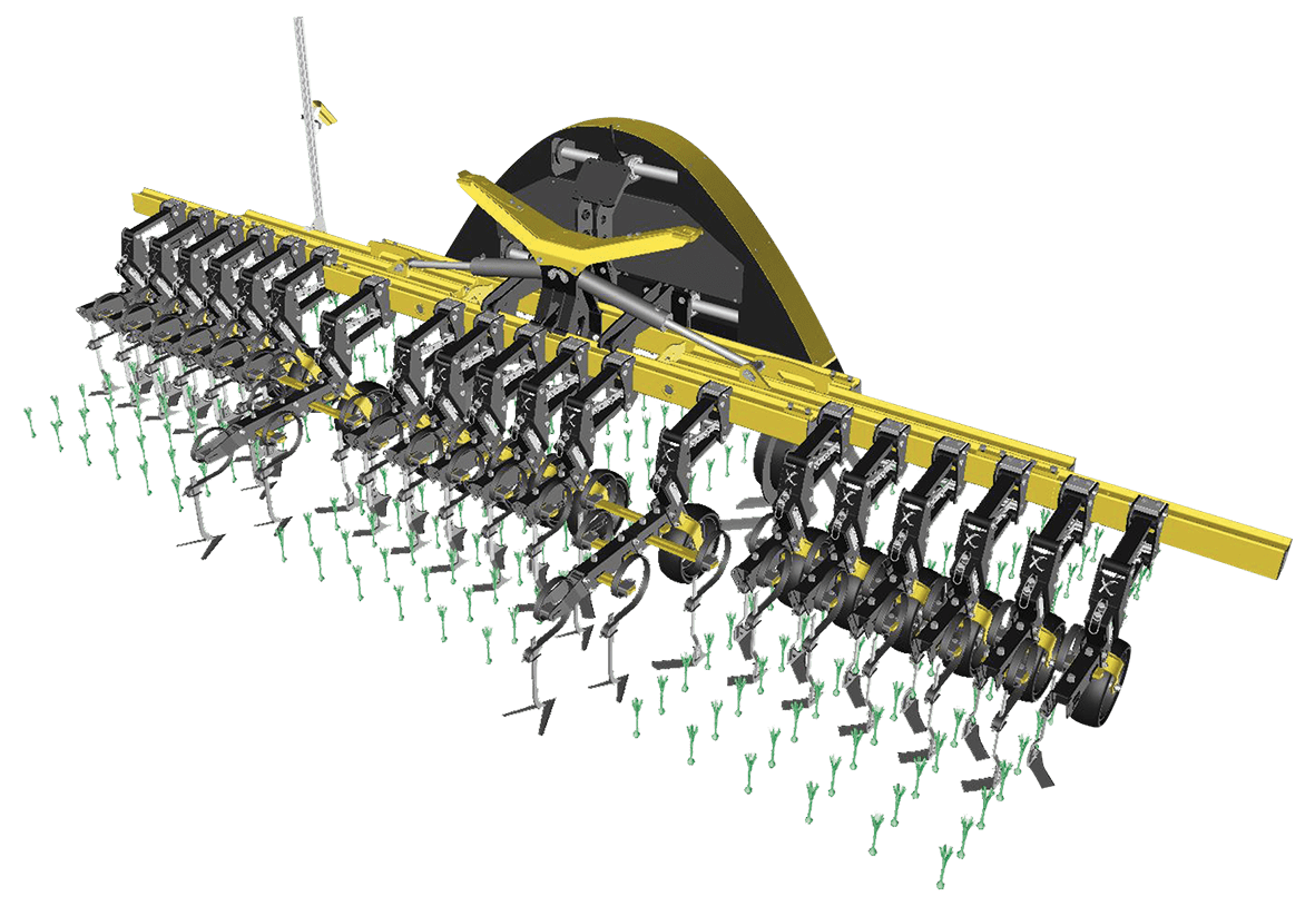 Hoeing, weeding, ridging all type of crops. Quick and continuous row-width change by sliding elements on the H-beam. Quick and easy fixing